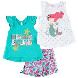 Nannette Little Girls 3-pc. Mermaid Squad Shorts Set