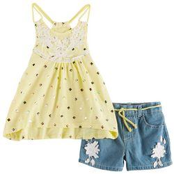 Nannette Little Girls Foil Diamond Denim Shorts Set