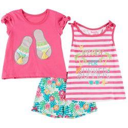 Nannette Little Girls 3-pc. Ready For Summer Shorts Set