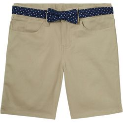 French Toast Big Girls Belted Uniform Shorts