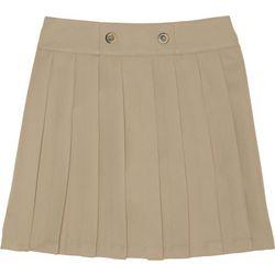 French Toast Big Girls Pleated Button Uniform Skort