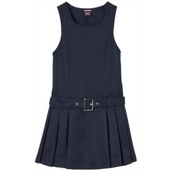 French Toast Big Girls Pleated Solid Mock Belt Jumper