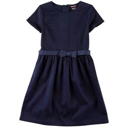 French Toast Little Girls Polka Dot Belted A-Line Dress