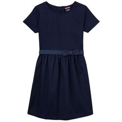 French Toast Big Girls Polka Dot Belted A-Line Dress