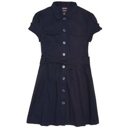 French Toast Little Girls Solid Uniform Safari Dress