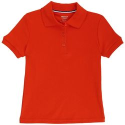French Toast Big Girls Solid Interlock Picot Polo Shirt