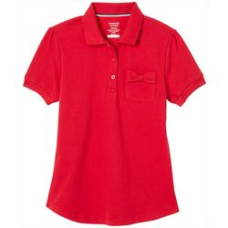 French Toast Big Girls Solid Bow Pocket Polo Shirt
