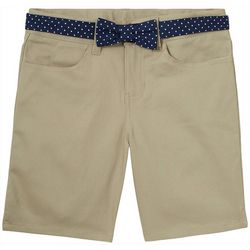 French Toast Little Girls Polks Dot Bow Belted Shorts