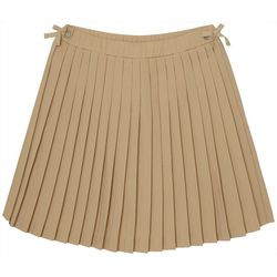 French Toast Little Girls Solid Bow Grommet Uniform Skort