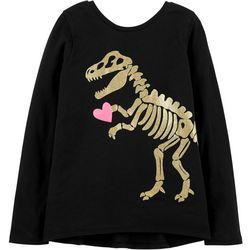Carters Little Girls Dinosaur Heart Crisscross T-Shirt