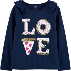 Carters Little Girls Pizza Love Ruffle T-Shirt