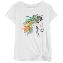 Carters Little Girls Sequin Horse Tie Front T-Shirt