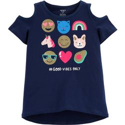 Carters Little Girls #Good Vibes Only Cold Shoulder T-Shirt