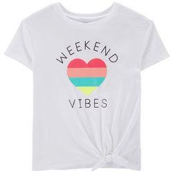 Carters Little Girls Weekend Vibes Tie Front T-Shirt
