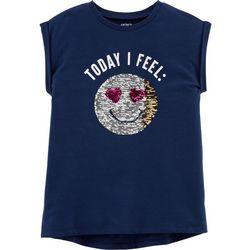 Carters Little Girls Today I Feel Flip Sequin Emoji T-Shirt