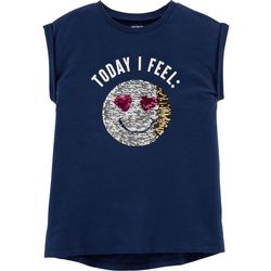 Carters Little Girls Today I Feel Flip Sequin Emoji T-Shirt