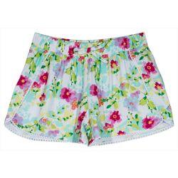Nautica Little Girls Floral Crochet Trim Shorts