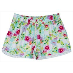 Nautica Little Girls Floral Crochet Trim Shorts