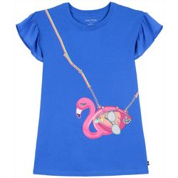 Nautica Little Girls Faux Flamingo Purse Short Sleeve Dress