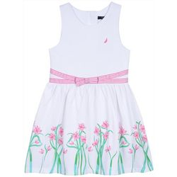 Nautica Little Girls Floral Border Dress