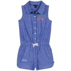 Nautica Little Girls Tropical Embroidered Chambray Romper