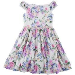 Emerald Sundae Big Girls Floral Print Lace Dress