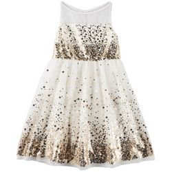 Emerald Sundae Big Girls Sequined Illusion Dress