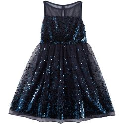 Emerald Sundae Big Girls Solid Sequined Illusion Dress