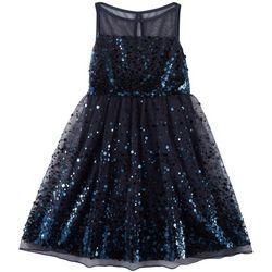 Emerald Sundae Big Girls Solid Sequined Illusion Dress