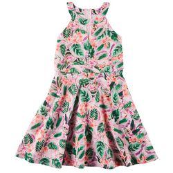 Emerald Sundae Big Girls Tropical Floral Sleeveless Dress