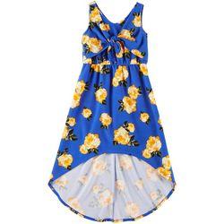 Emerald Sundae Big Girls Tie Front Floral Print Dress