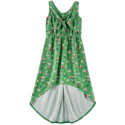 Emerald Sundae Big Girls Floral Tie Front Sleeveless Dress