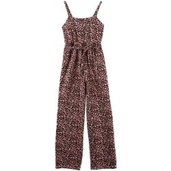 Emerald Sundae Big Girls Leopard Print Sleeveless Jumpsuit