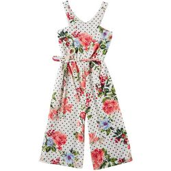 Emerald Sundae Big Girls Floral Dots Belted Jumpsuit