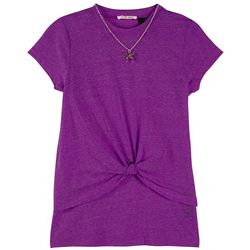 DJ & Juju Big Girls Heather Butterfly Necklace Top