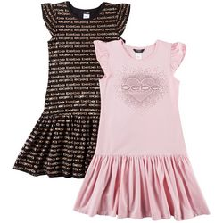 Bebe Big Girls 2-pk. Heart Logo Ruffle Sleeve Dresses