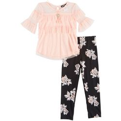 RMLA Little Girls 3-pc. Ruffled Mesh Floral Leggings Set