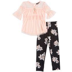 RMLA Big Girls 3-pc. Ruffled Mesh Floral Leggings Set