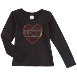 RMLA Big Girls Sequined Heart Long Sleeve T-Shirt