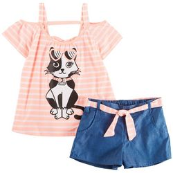 RMLA Big Girls Stripe Cat Shorts Set