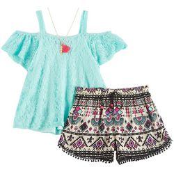 RMLA Little Girls Crochet Tribal Shorts Set