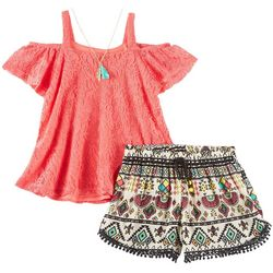 RMLA Little Girls Crochet Tribal Shorts Set