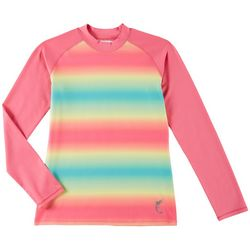 Reel Legends Big Girls Sherbert Ombre Long Sleeve Rashguard