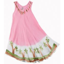 India Boutique Little Girls Palm Tree Trim Swim Cover-Up