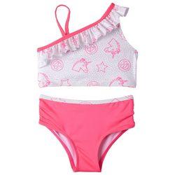 Limited Too Little Girls Unicorn Ruffle Tankini Swimsuit