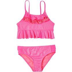 Kensie Girl Big Girls 2-pc. Stripe Sheer Swimsuit Set