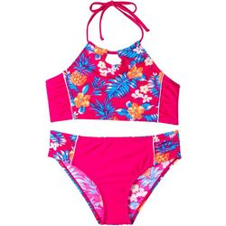 Big Chill Big Girls 2-pc. Tropical Print Swimsuit