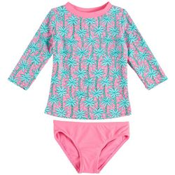 Floatimini Little Girls Palm Tree Rashguard Swimsuit