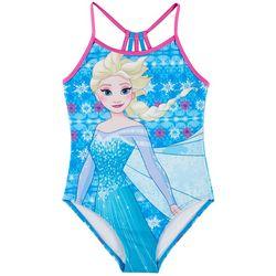 Disney Frozen Little Girls Elsa Strappy Back Swimsuit
