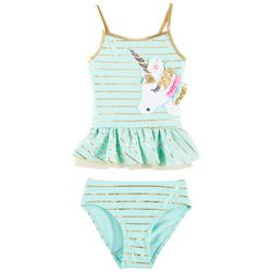 Flapdoodles Little Girls Striped Unicorn Tankini Swimsuit